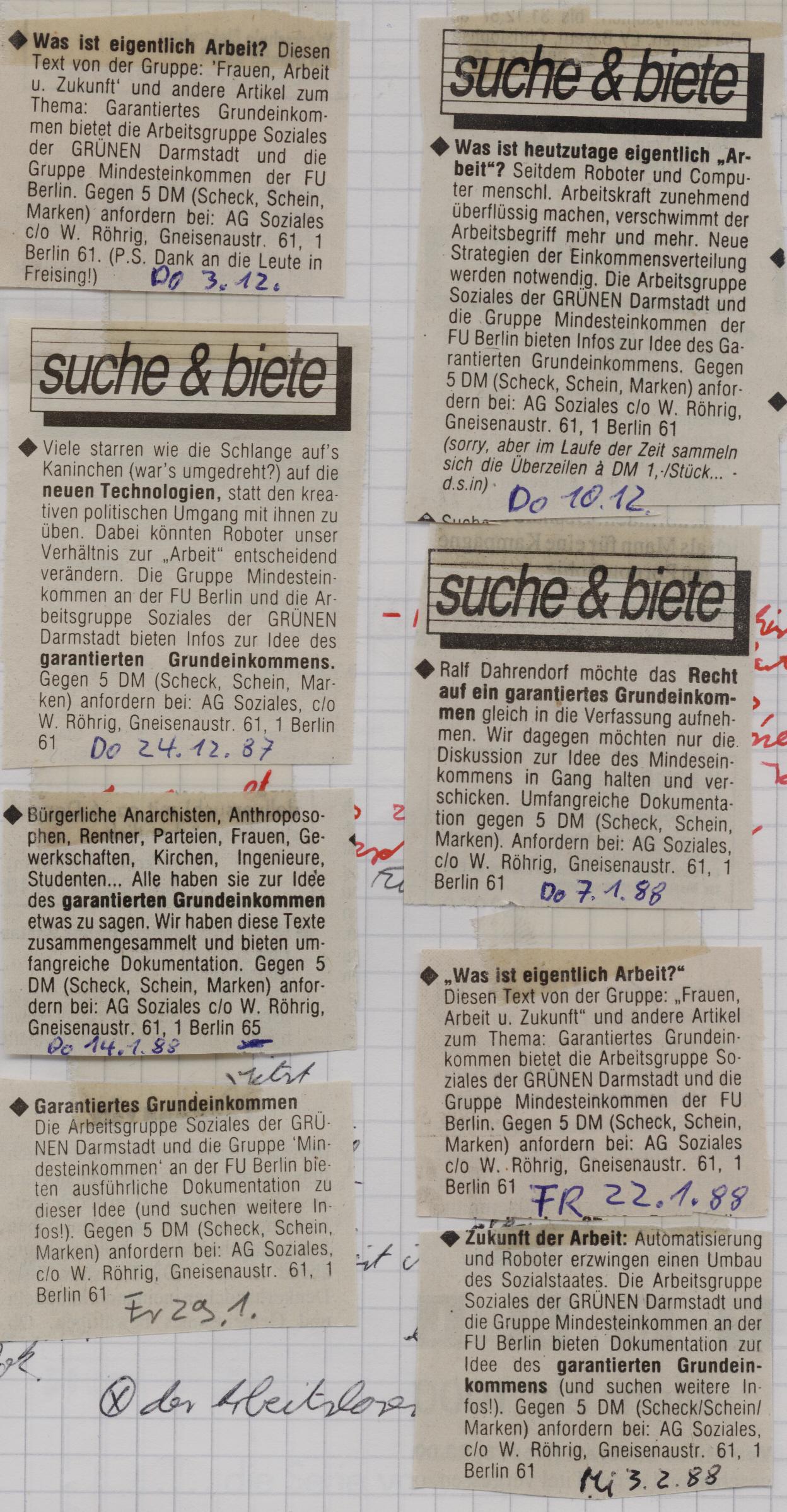 [Anzeigen in taz, 1987/88]